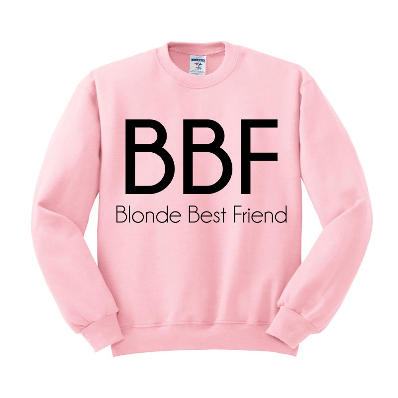 BBF Blonde Best Friend Sweatshirt Sweater Unisex Adults size S to 2XL