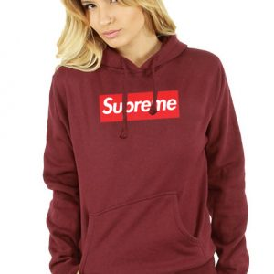 Supreme Logo Maroon Hoodie Unisex Adult size S to 2XL