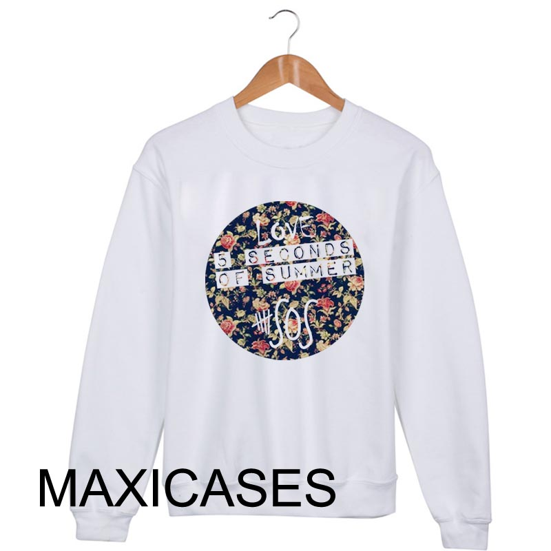 5 second of summer Flower Sweatshirt Sweater Unisex Adults size S to