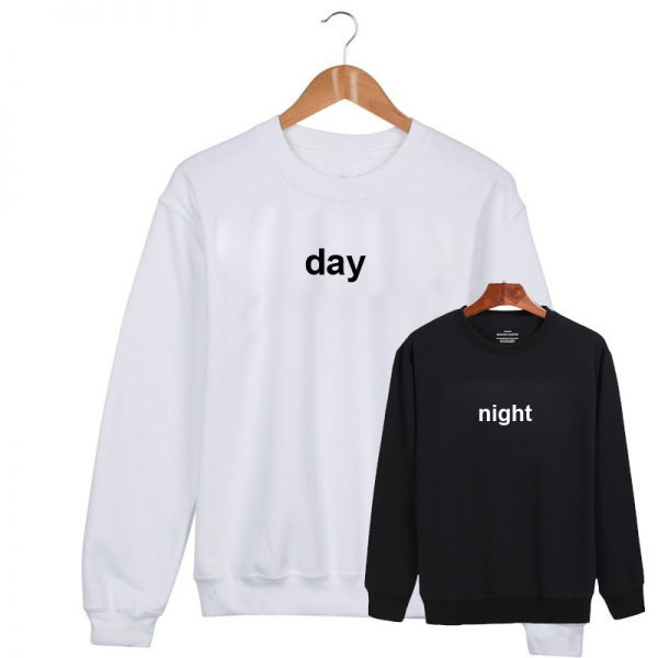 Day night couple Two Sweatshirt Sweater Unisex Adults size S to 2XL