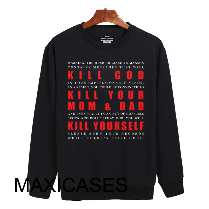 Marilyn Manson KILL GOD Sweatshirt Sweater Unisex Adults size S to 2XL