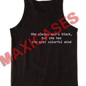 She always wear black tank top men and women Adult