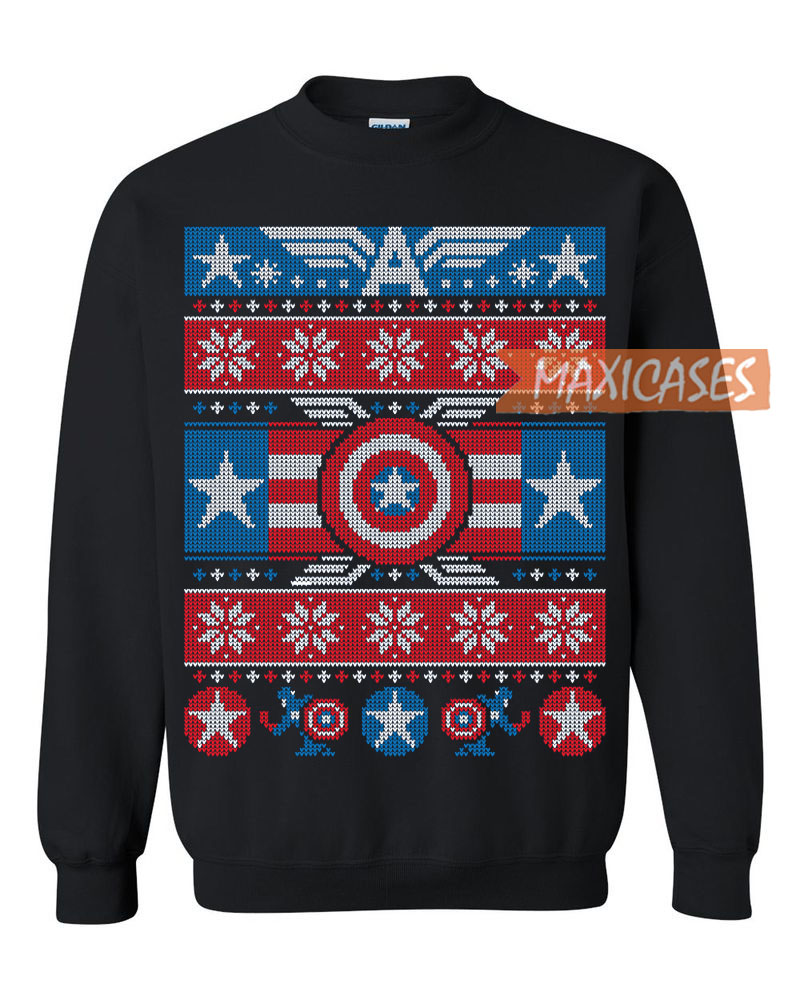 a0c1d018511c Captain America Ugly Christmas Sweater Unisex Size S to 3XL