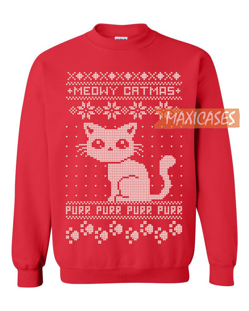 Grumpy Cat Ugly Christmas Sweater.Meow Cat Ugly Christmas Sweater Unisex Size S To 3xl