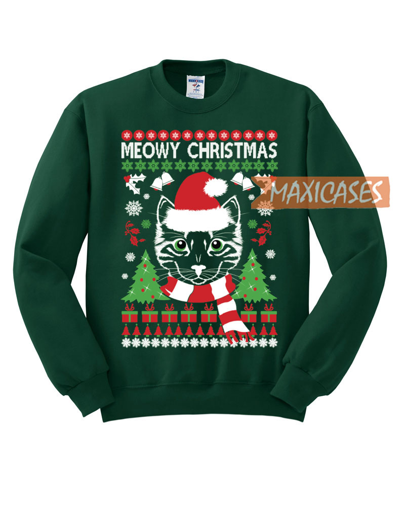 Ugly Christmas Sweater Cat.Meowy Cat Ugly Christmas Sweater Unisex Size S To 3xl
