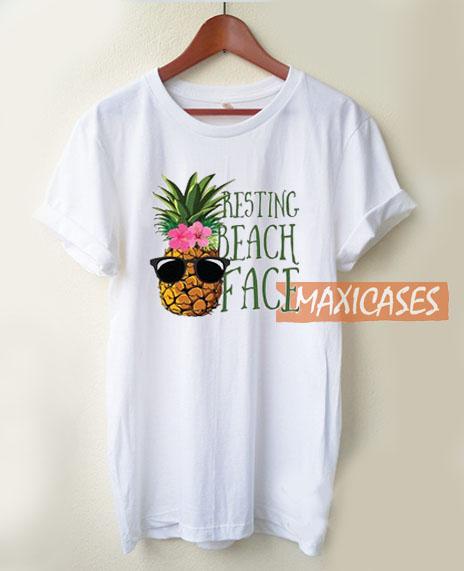 Pineapple Resting Beach Face T Shirt