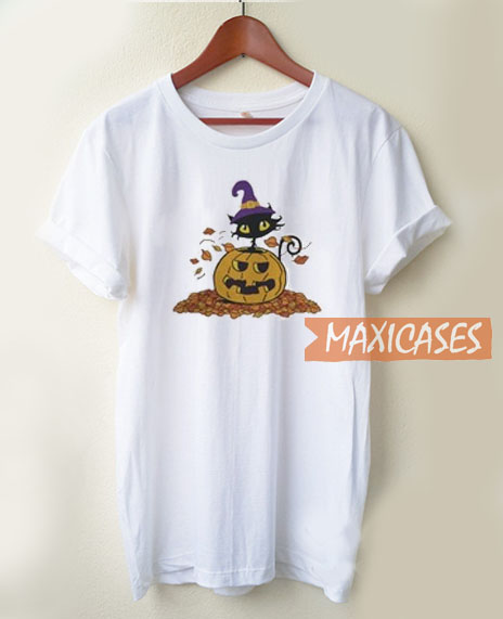 Pumpkin With Black Cat T Shirt